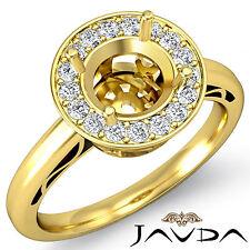 Round Shape Diamond Engagement Ring Halo Pave 18k Yellow Gold Semi Mount 0.36Ct