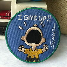 I Give Up Charlie Brown and Snoopy Appliques Embroidery Iron on Patch