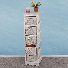 Regal Kommode mit 5 Korbschubladen 90x25x28cm Shabby-look Vintage weiß