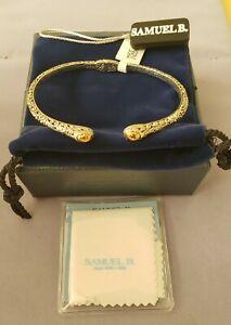 Beautiful Samuel B. Behnam sterling 18k yellow gold ornate bangle bracelet