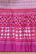 Pre-Smocked Pink White Floral Diamond Band Shirred Sundress Fabric Print A415.05
