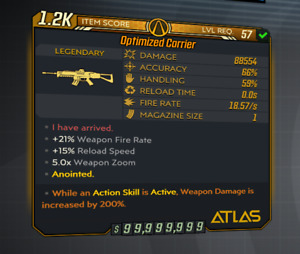 Borderlands 3 | M10 | Optimized Carrier | LVL 57 | Modded | XBOX / PS4
