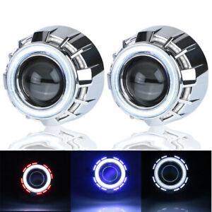 2.5″ HID Bixenon Projector Headlight Retrofit Lens Dual Angel Eyes Halo H1 H4 H7