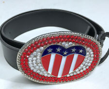 "Patriotic Heart Stars Stripes Jeweled Bling Medium 35"" 1.5"" Belt Faux Leather"
