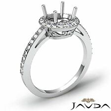 Semi Mount 0.45Ct Diamond Engagement Ring Halo Pave 14k White Gold Round Shape