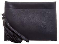 Faux Leather Tassels Clutch Bag Envelope Evening Handbag Simple Plain Oversized
