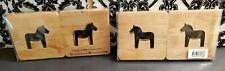 Set of EIGHT Swedish Skandinavisk Hemslojd Wood Coasters HORSES Anna Linderholm