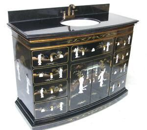 """48"""" Oriental vanity cabinet, Chinese vanity, black lacquer vanity"""