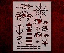Nautical Rope Crab Sea Shells Lighthouse Anchor 8.5 x 11