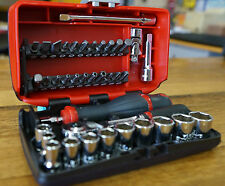 "Sidchrome 38 Piece Metric 1/4"" Drive Nano Socket and Bit Set In Storage Case"