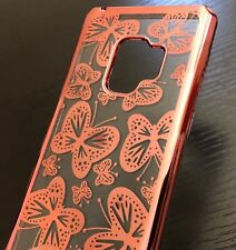 For Samsung Galaxy S9 - TPU RUBBER GUMMY GEL SKIN CASE COVER ROSE GOLD BUTTERFLY