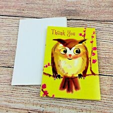 """Owl in Blossom Tree Thank You Note Cards 5""""x4"""" w/ envelopes pack of 8 New"""