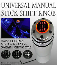 JDM LED Red Light Manual Car Shift Knob Gear Lever Aluminum Silver color #R1V