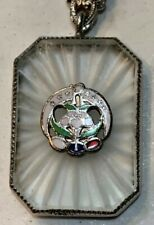 """Daughters Of Rebekah On Camphor Glass Pendent, Sterling 17"""" Chain"""