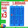 3 Pilas AAA Recargables 1800mAh ★ Altisima Capacidad - 1,2 voltios ★ Battery pcs