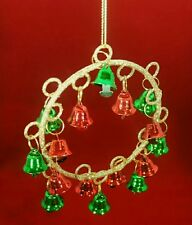 "Jingle Bell Christmas Wreath Gold Glitter Red Green 4"" Ornament Kurt Adler Gift"