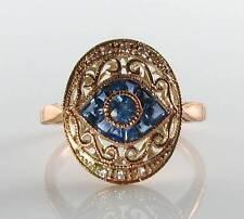 GRAND 9CT9K  ROSE GOLD SAPPHIRE DIAMOND ALL SEEING EYE ART DECO INS RING