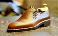 Mens Handmade Shoes Good Year Welted Oxford Tan leather Formal Dress Casual Boot