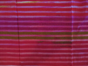 """BTY x 44"""" Cotton BATIK Quilt Fabric - Stripes of Pink, Red, Brown"""