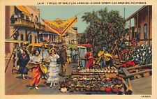 VTG  POSTCARD LOS ANGELES OLVERA STREET MARKET MEXICAN POTTERY DRESS CA / A56