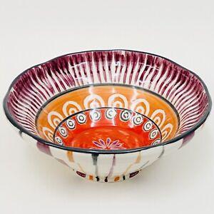 "HTF Anthropologie POPPY Striped Floral Purple Red Orange Grey Boho Bowl 6.75"""