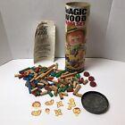 Vintage 1960s Toplay Magic Wood Building Block Farm Set Mid Century Toy