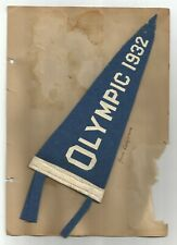 Rare 1932 Los Angeles Olympic Pennant and a Maurice Chevalier News Clipping