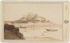 CDV circa 1880. Mont Orgueil Castle, Jersey. Godfray, photographer. Bateaux.