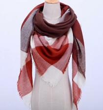 Fall Winter Plaid Acrylic Triangle Scarf - Brown with Ivory