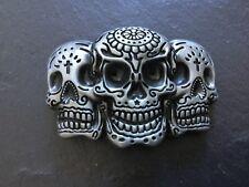 TRIPLE Mexican Tattoo SKULL New BELT BUCKLE Silver Colour Metal Sugar Skulls