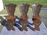 Set of 3 antique carved wood Sgabello Chairs - Green Man Face