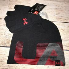 Under Armour Hat Beanie Toboggan Gloves Set NEW Youth Black Red