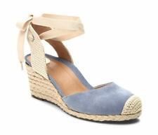 Vionic Women's Aruba Maris Suede Lace-Up Wedged Heels Blue