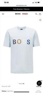 hugo boss Cotton-jersey T-shirt with multi-coloured logo Size XXL