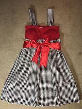 Handmade Houndstooth Children's Dress With Ribbon Girls Size 10-11 Years