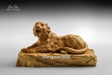 41 cm Chinese Boxwood Masterwork Jungle King howling Tiger Animal Wood sculpture