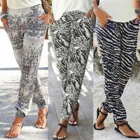 New Women High Waist Printing Easy Trousers Long Pants Sandy Beach Pant Match