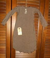 Prim WALL DRESS w/hanger Primitive Decor BLACK CHECK NIGHTSHIRT, Halloween, Fall