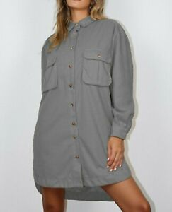 Missguided Charcoal Oversized Fleece Shirt Dress Uk Size 14 VR279 013