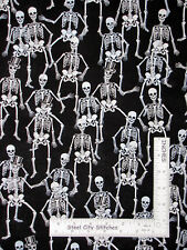 Halloween Skeletons Silver Black Cotton Fabric HG&Co Fright Night By The Yard