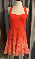 Womens BETSEY JOHNSON Coral Ombre Lace Halter Dress ~ Size 10 (G32)