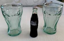 Vintage Mini DIET COKE Bottles bottle 3 inches tall & 2 Green Coke Glasses RARE