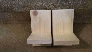 Wooden wall hanging pair of tea light candle holders