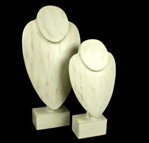 Necklace Display Jewellery Stand Wood White Classy Bust Shop Retail Display
