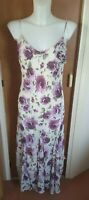 Per Una Marks & Spencer Purple Floral Maxi Summer Dress Size 14 Wedding Party