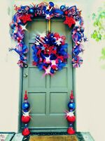 4th of July Patriotic Deco Mesh Wreath Garland & Topiary Door Decor Buy 1 or Set