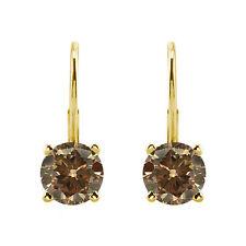 0.75 Carat Natural Champagne Diamond Leverback Pair Earrings 14k Yellow Gold