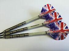 28g 95% Tungsten knurled Darts Set, UNION JACK RIPPLE Flights & Supergrip Stems