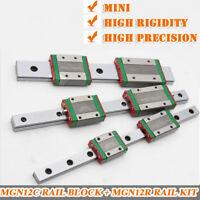 MGN12 Linear Rail Guide 12mm Multi-Length & 2pc Rail Block MGN12C Slider CNC