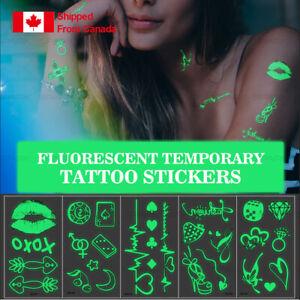 7 sheets Fluorescent Luminous Temporary Tattoo Stickers Night Bar Music Party